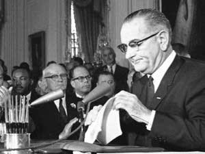 Pres. Lyndon Johnson prior to signing the 1964 Civil Rights Bill.