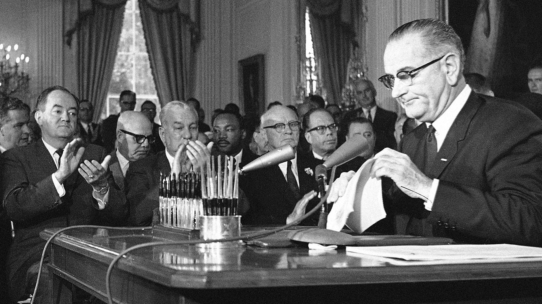 Pres. Lyndon Johnson prior to signing the 1964 Civil Rights Bill.