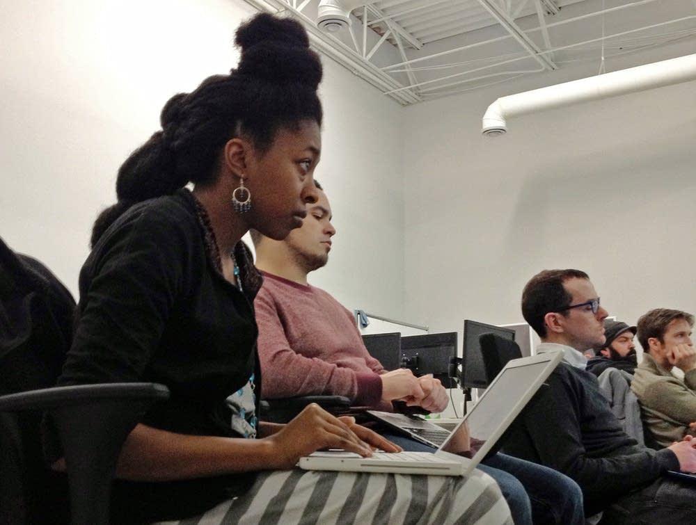 Adia Alderson in class at Prime Digital Academy.