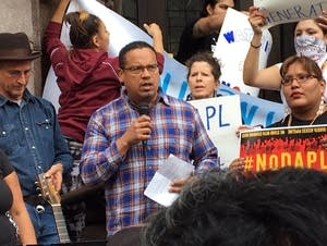 U.S. Rep. Keith Ellison spoke to protesters.