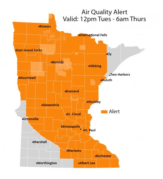 Air quality alert until 9 am Thursday