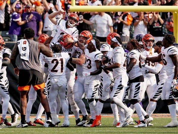 A football team celebrates a victory