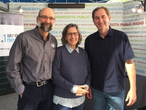 Jesse Schomberg, Ann Bancroft, Paul Huttner at the State Fair.