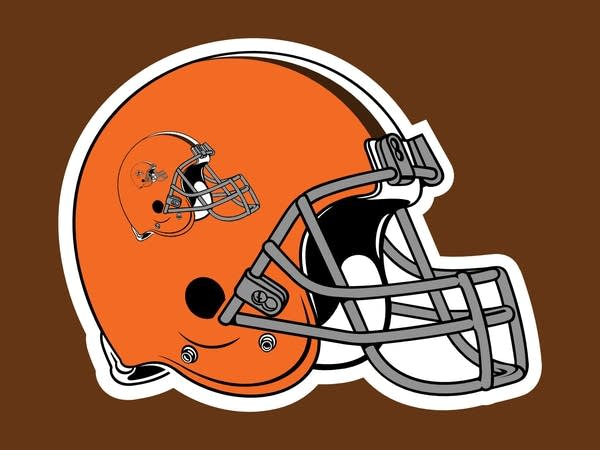 Orange football helmet with logo on the helmet ad infinitum