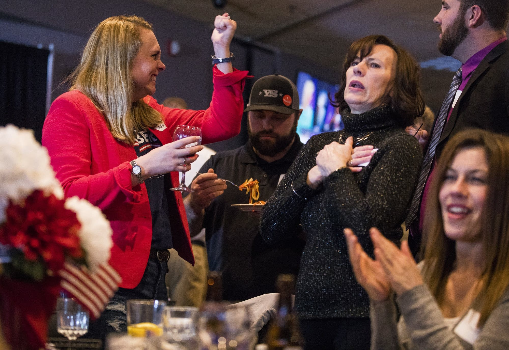 Stauber supporters celebrate.