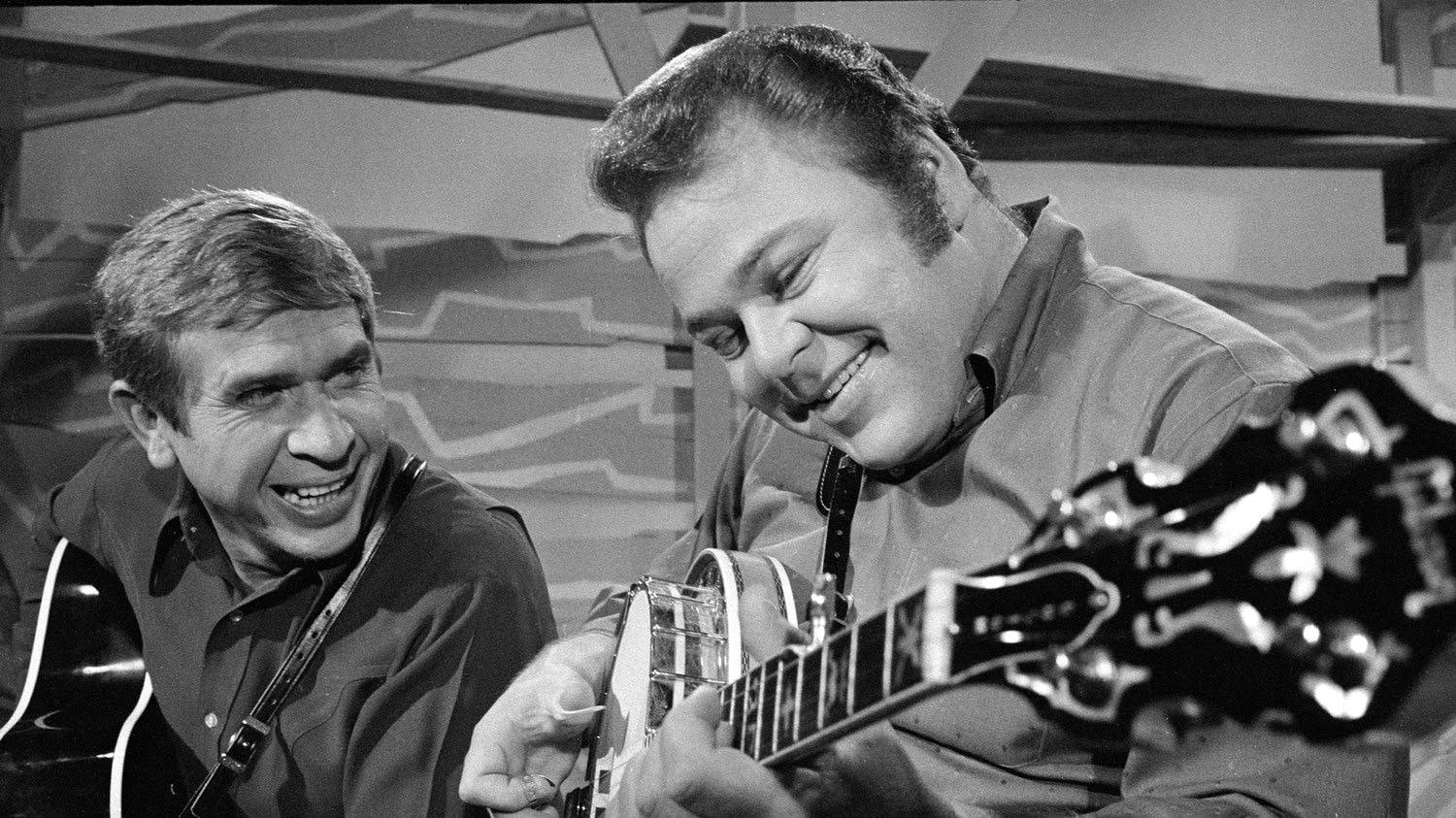 'Hee Haw' co-hosts Roy Clark, right, and Buck Owens in 1969