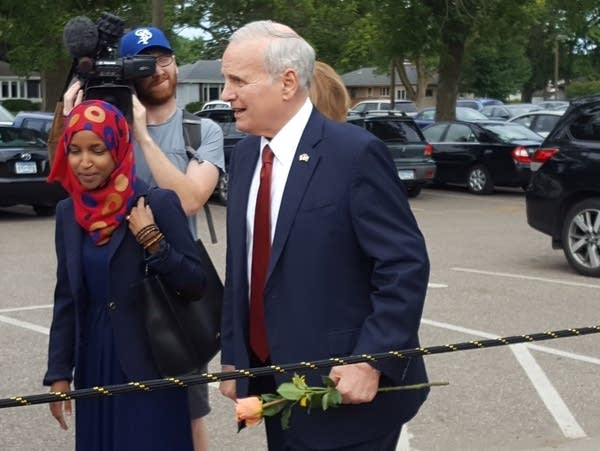 Governor Dayton and State Rep. Ilhan Omar at Dar Al-Farooq Islamic Center
