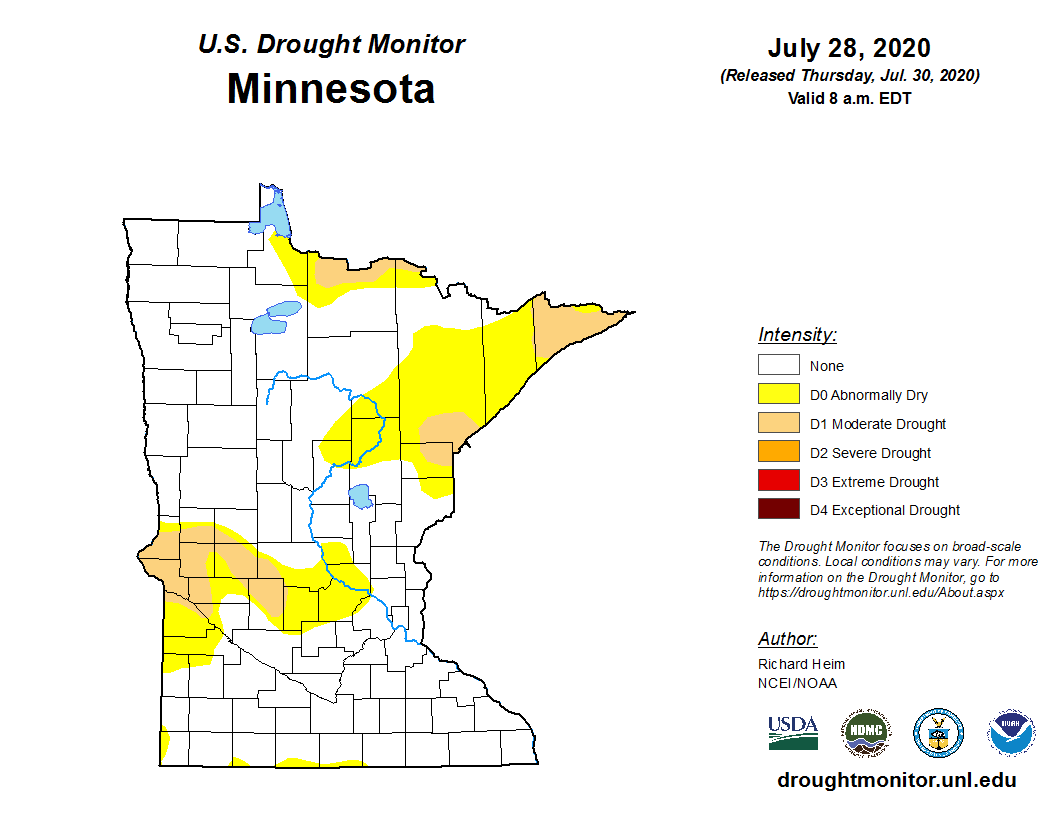 US Drought Monitor for Minnesota