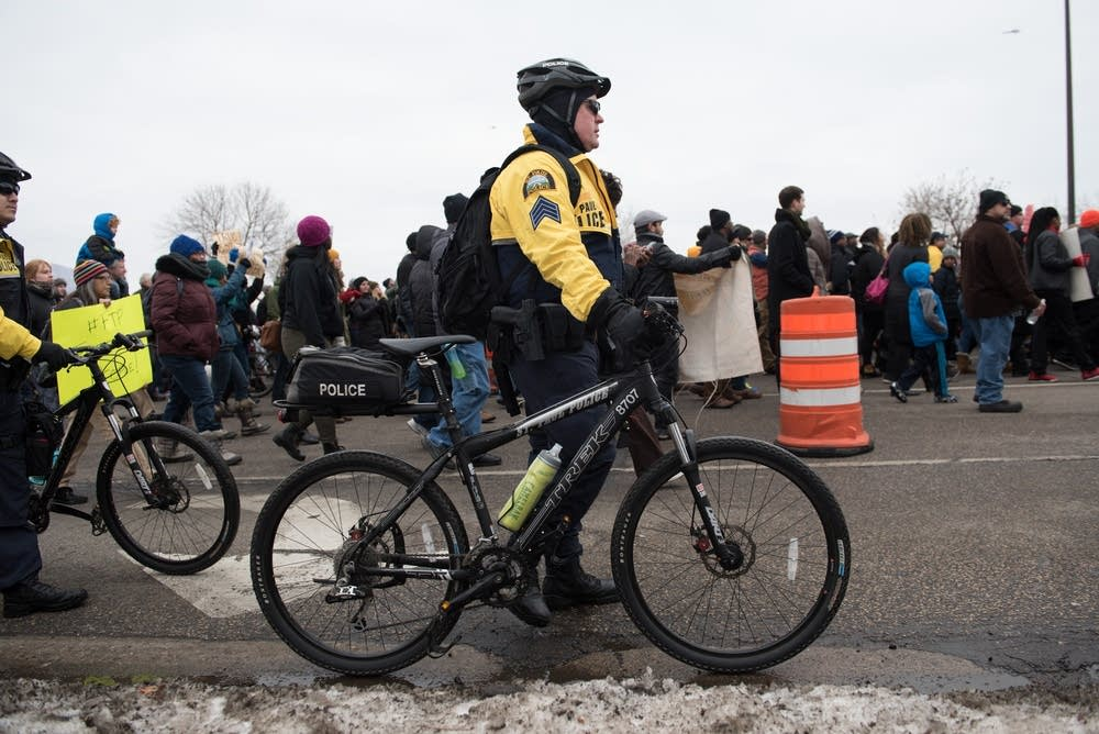 Bicycle police escorted the marchers.