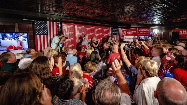 Jeff Johnson celebrates his primary victory.