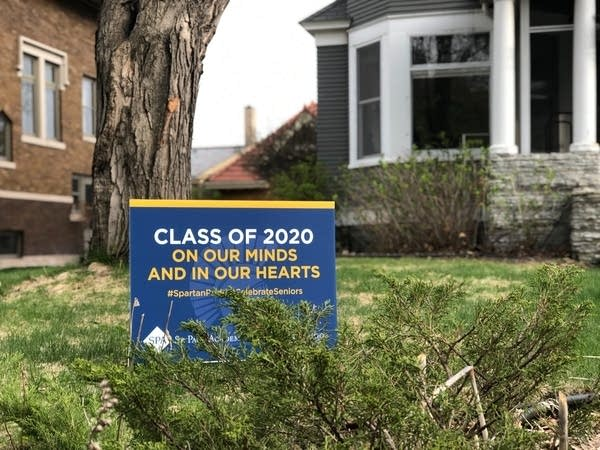 A sign with encouraging words for the class of 2020