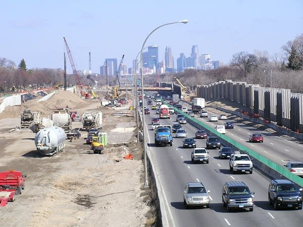 Road construction between Minneapolis and St. Paul