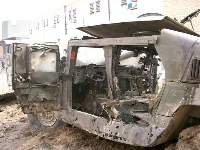 Jim Vandenheuvel's destroyed Humvee