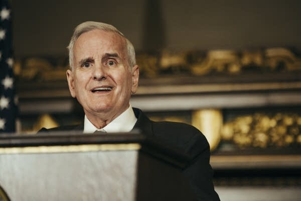 DFL Gov. Mark Dayton speaks at a press conference.