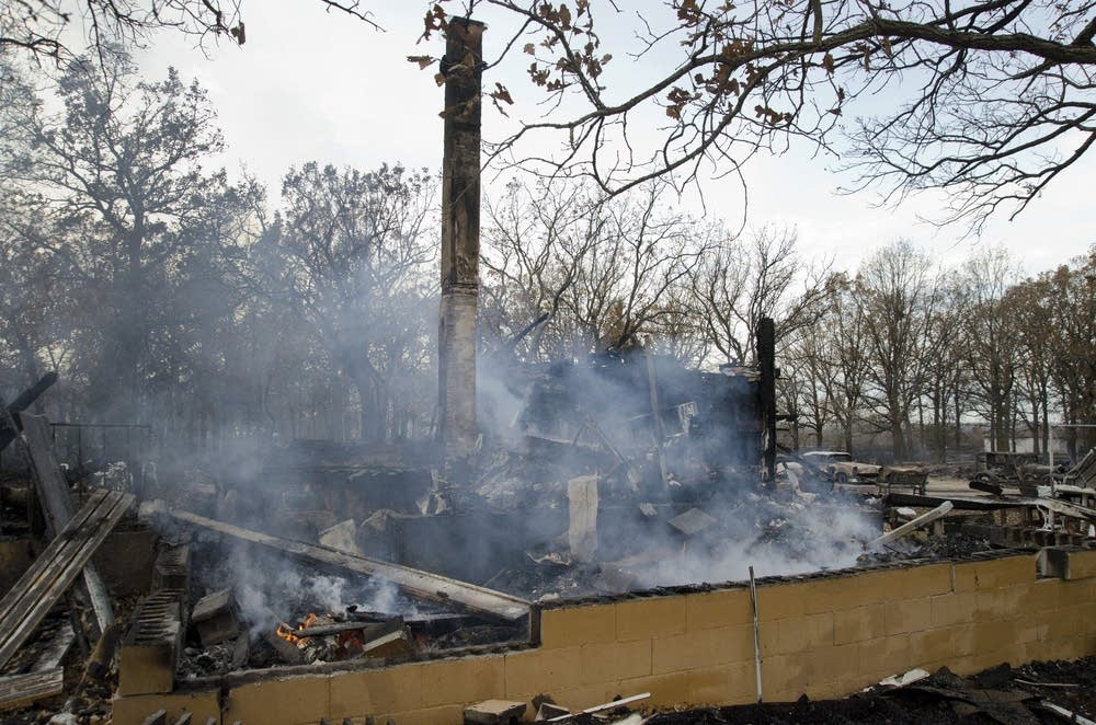 The burned Englund family home