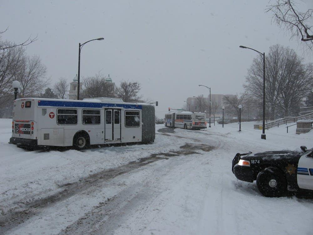 Jack-knifed buses