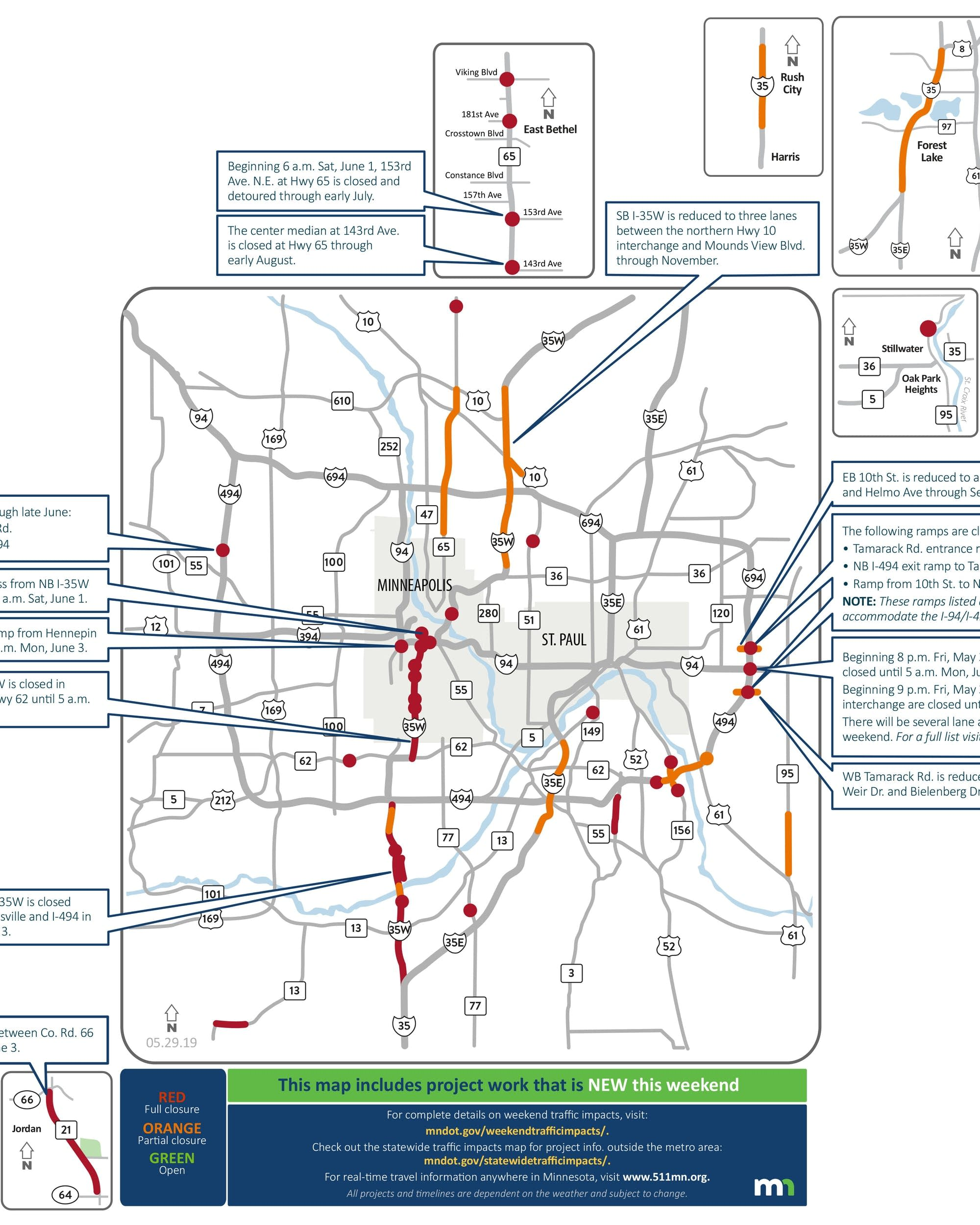 Twin Cities weekend road closures: I-35W and 3 big street