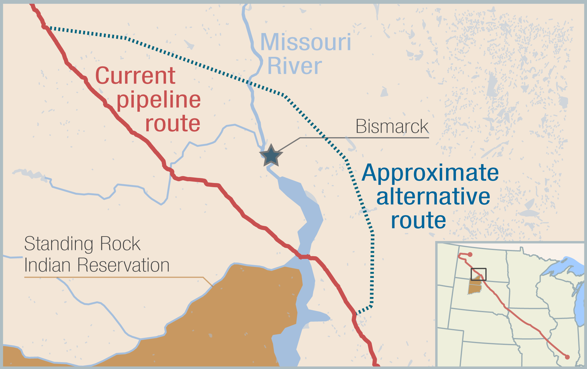 Dakota Access pipeline: Current, alternative route