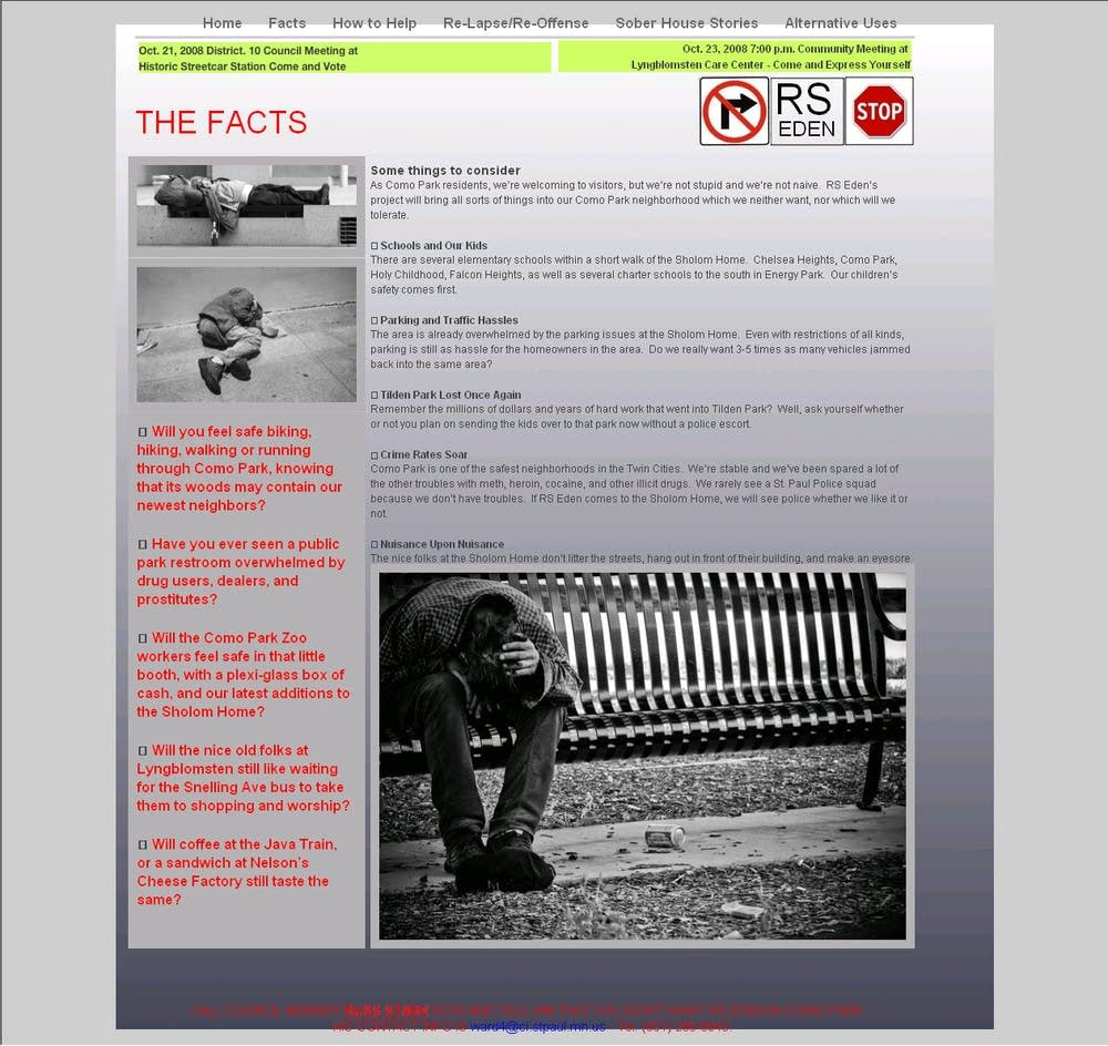 A 'Facts' page of the anti-RS Eden site