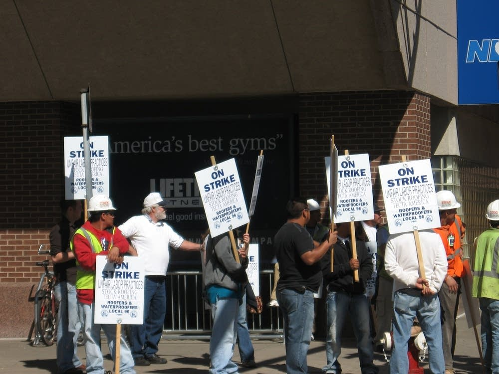 Roofers on strike