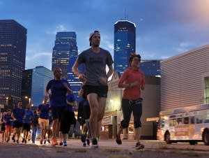 Runners in downtown Minneapolis