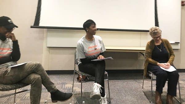 Neda Renee Kellogg moderates a panel