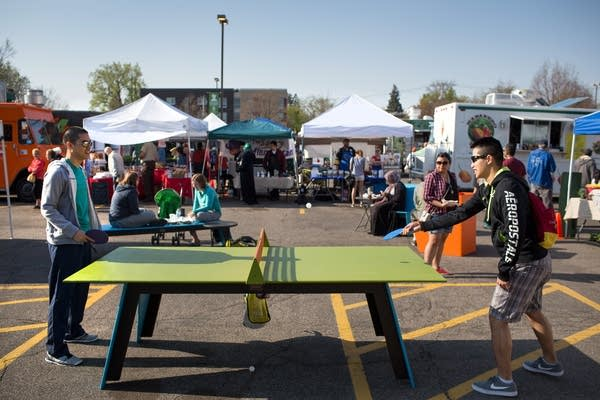 Ping pong at the Midtown Farmers market