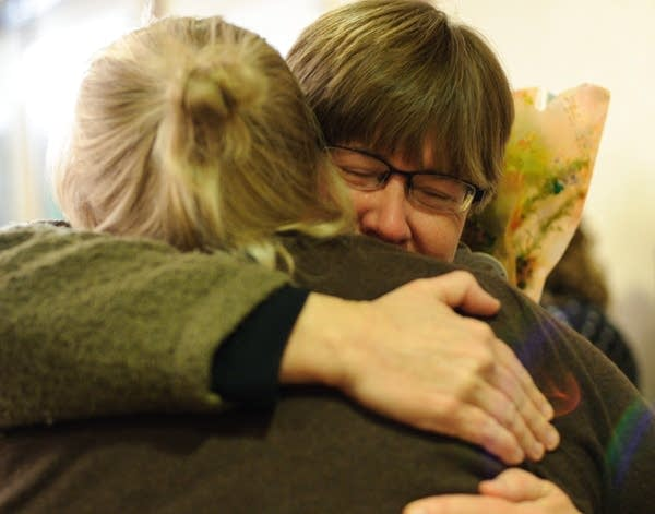 Ann Agrimson greets Pricilla Deshay