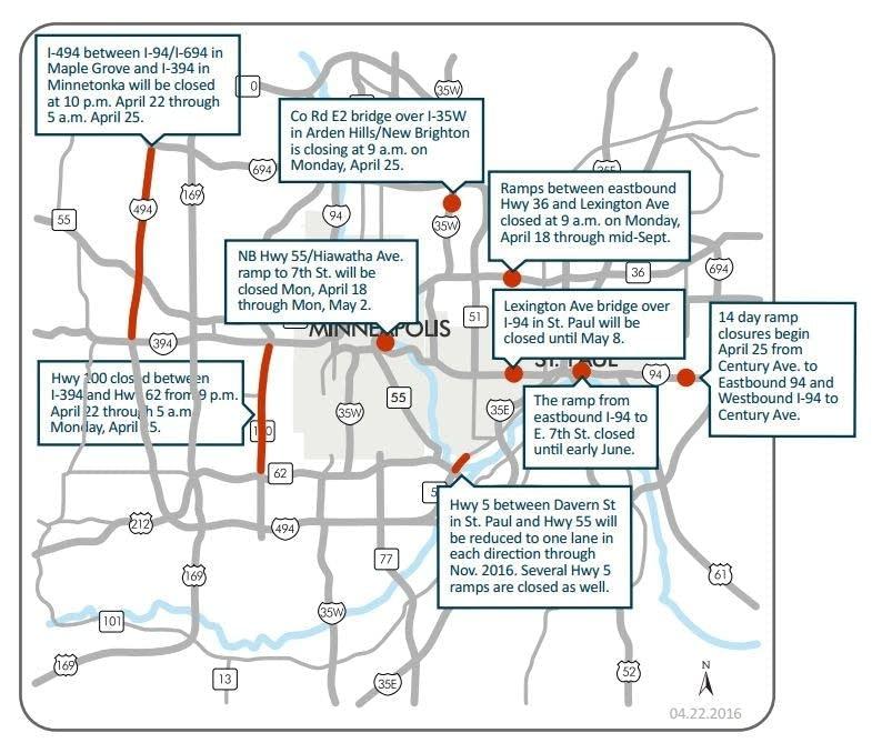 Highway 100 closure tops Twin Cities weekend road woes | MPR