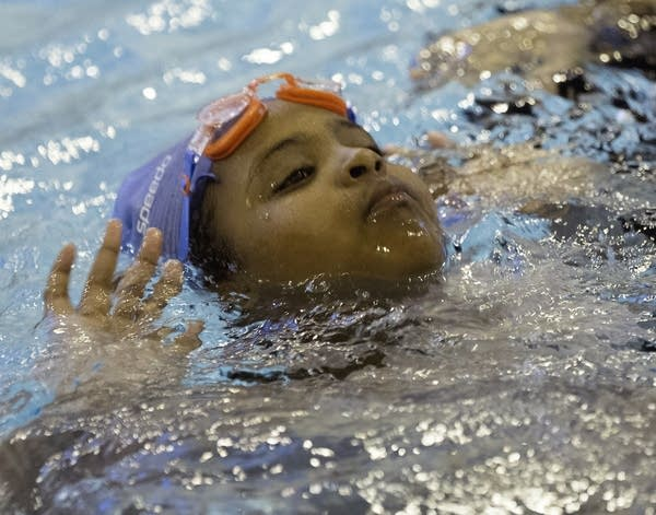Hafso Warsame swims for several hours.