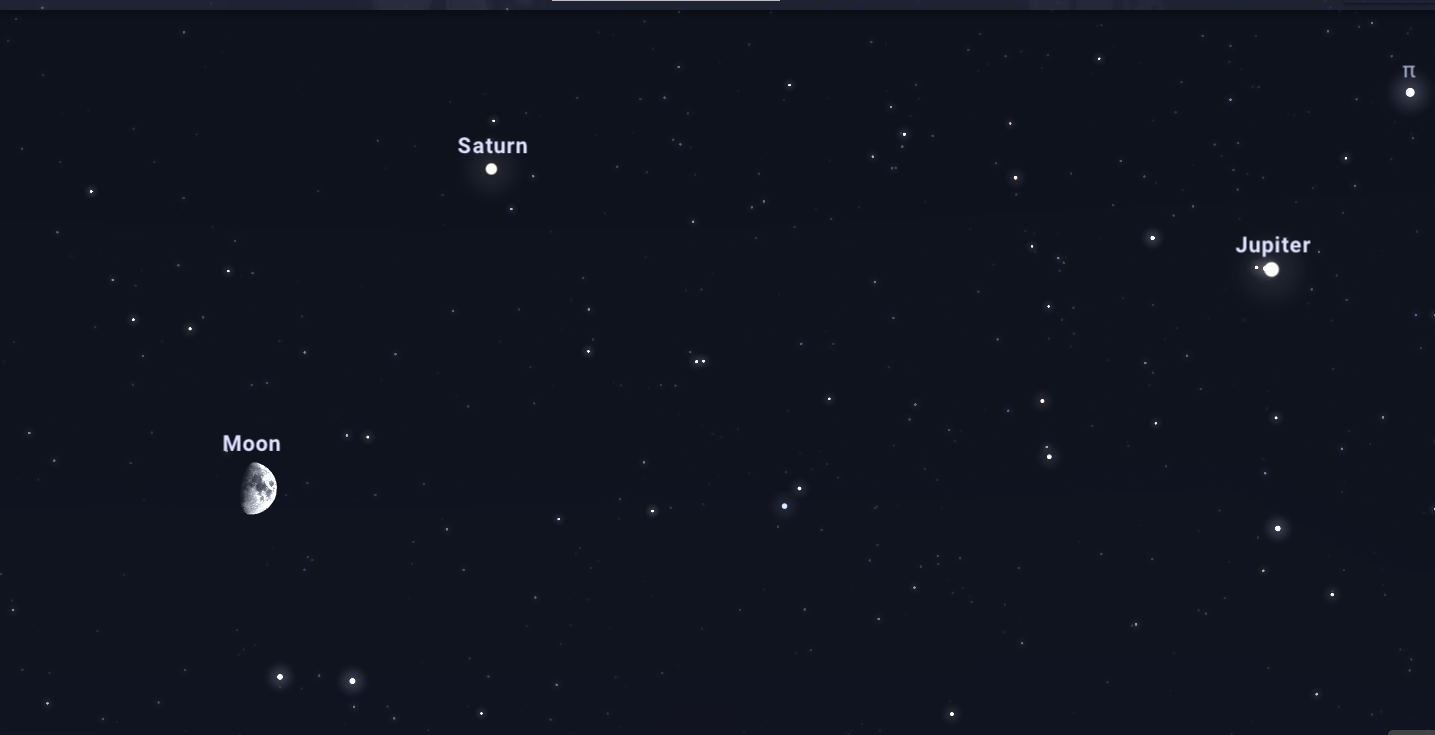 Southern sky for the evening of 25 September 2020