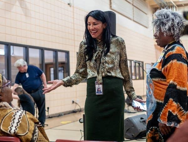 Sarah Walker talks to members of the Black Storytellers Alliance.