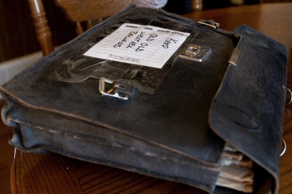 Old weather records are kept in an old bag.