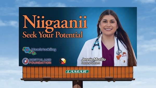 A rendering of a billboard sign featuring a medical student.