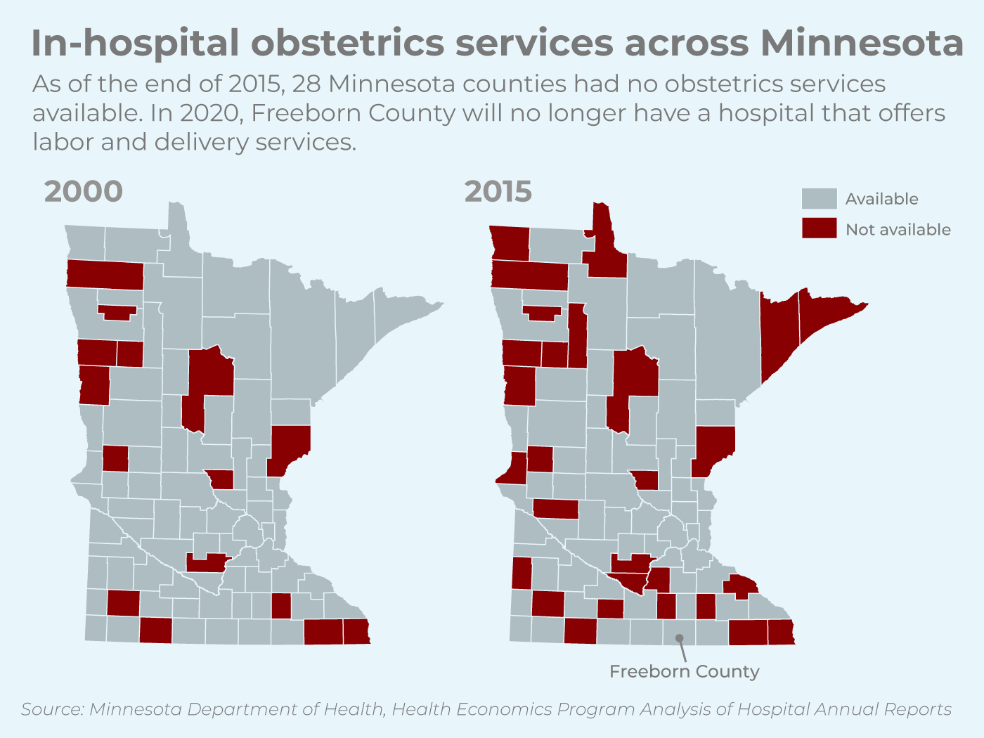 In-hospital obstetrics services across Minnesota.
