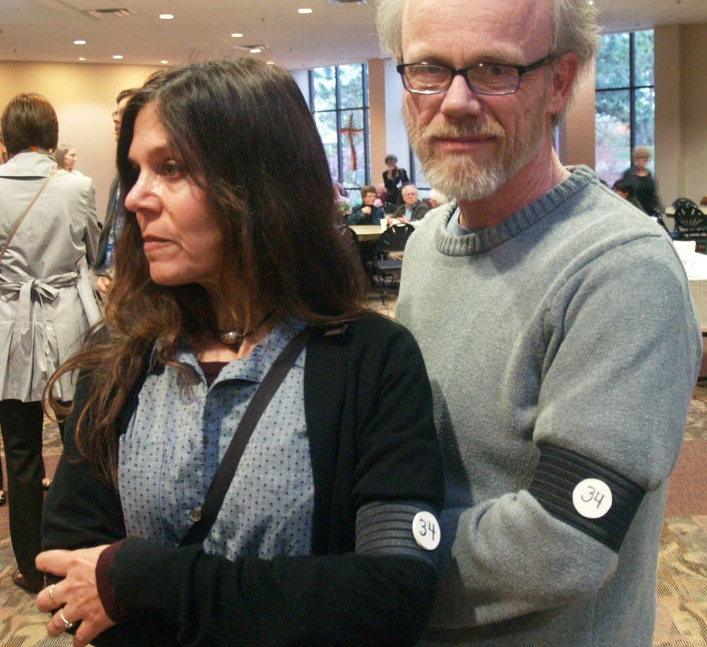 Mark Thoson and Juliet Branca wore black armbands