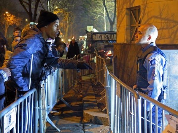 Cameron Clark confronts Sgt. Steven Mosey.