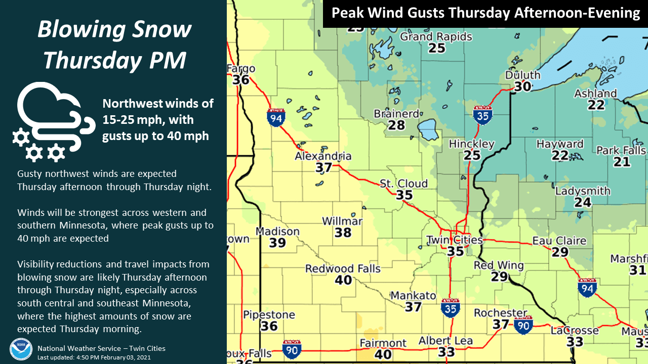 Forecast peak winds Thursday