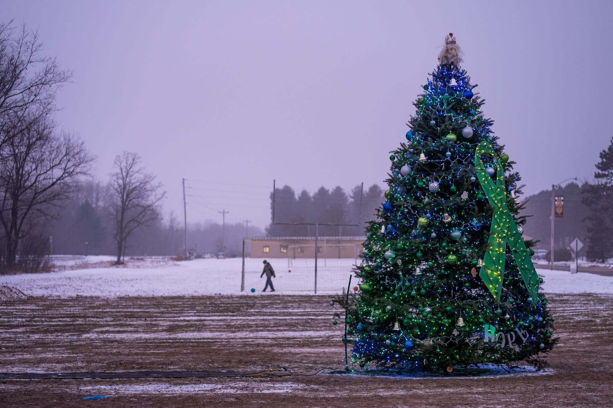 A Christmas tree decorated in honor of missing 13-year-old Jayme Closs.
