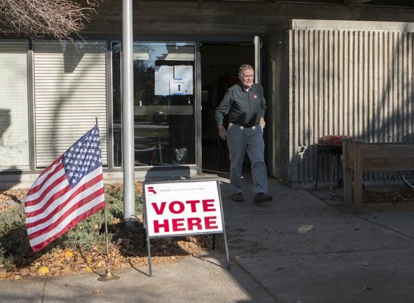 A man leaves a polling place