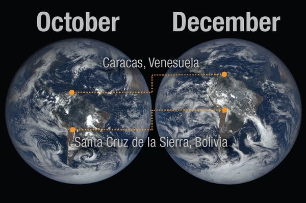 A combined image showing Earth's tilt