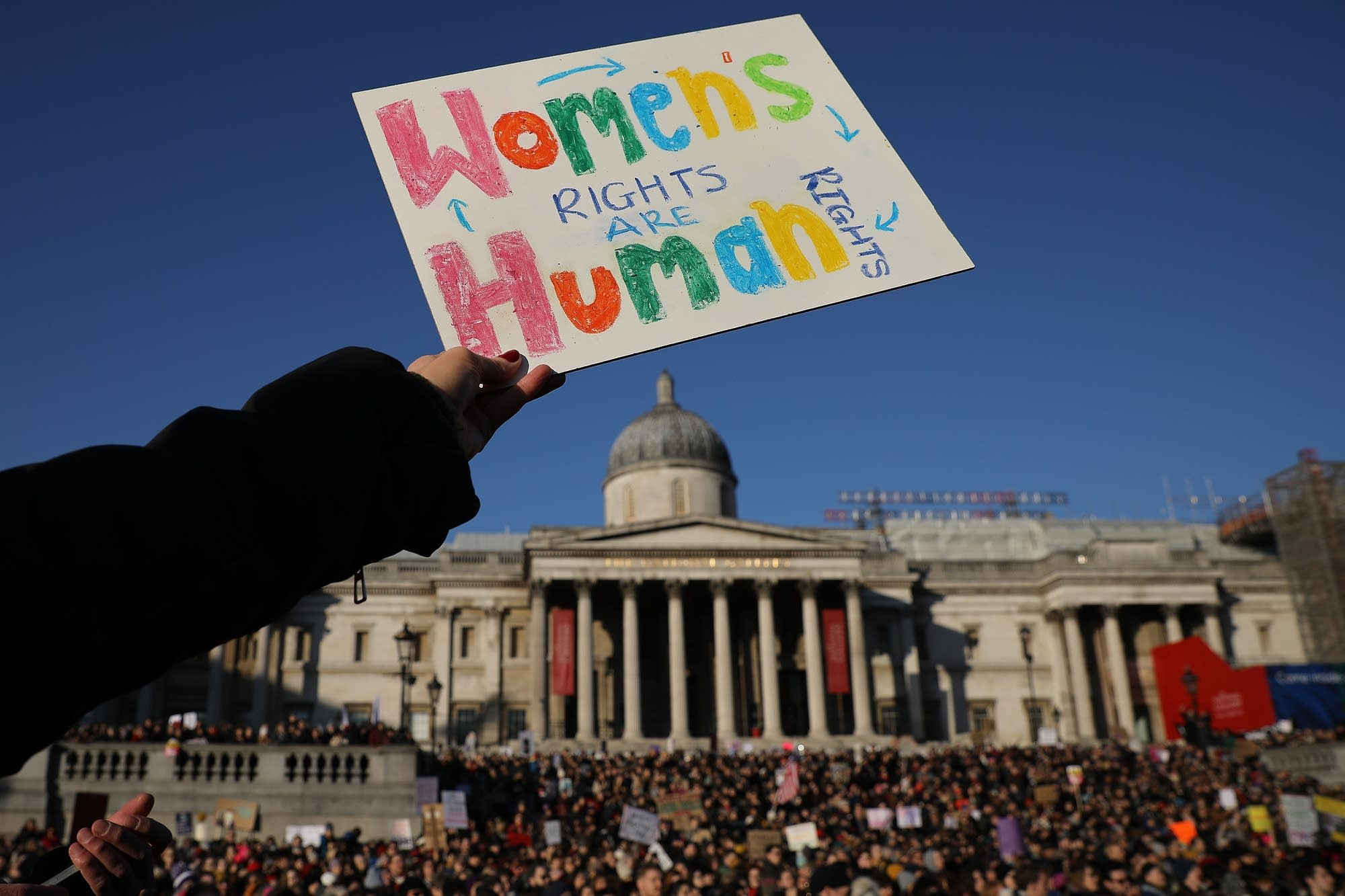 London, England: Protesters rally for women's rights.