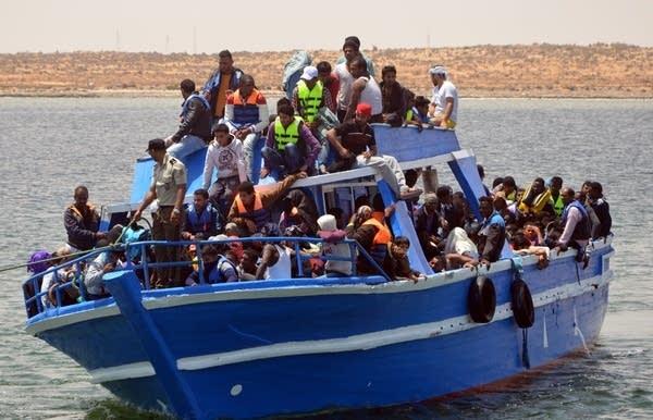 Rescued Tunisian migrants