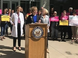 U.S. Tina Smith and Planned Parenthood officials