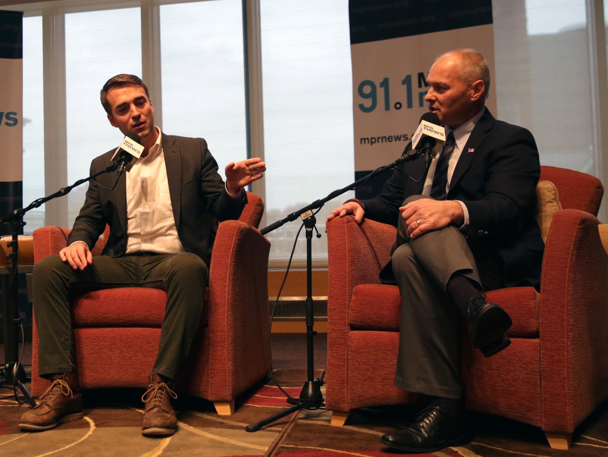 Democrat Joe Radinovich and Republican Pete Stauber debate on MPR News.
