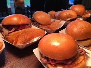 Fresh-shaved smoked beef sandwiches
