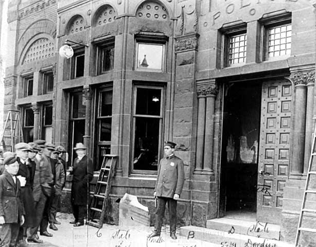 Duluth police station after damage by lynching mob in 1920.