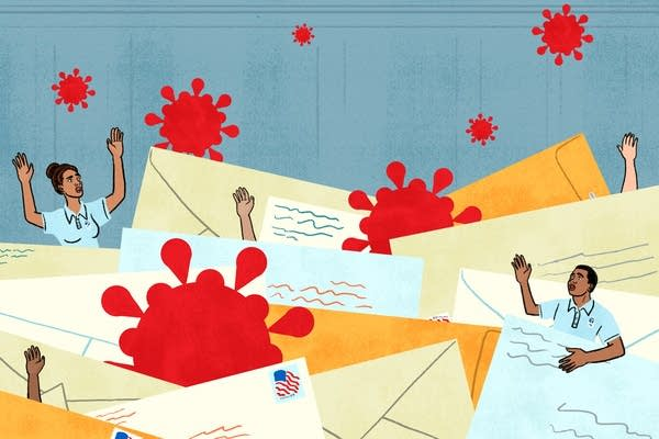 An illustration of postal workers and the pandemic.