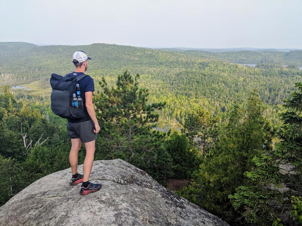 Ajay Pickett looks out from the top of Mount Trudee near Silver Bay.