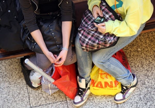 Teenagers shopping
